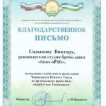 Благодарность от министра молодежной политики и спорта А.И.Иванюта